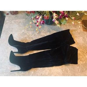 Shoes - Over the knee black suede boots. Sz 10